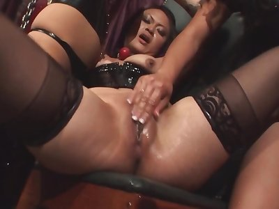Chained up girl is being dominated by team a few of a male effeminate chicks