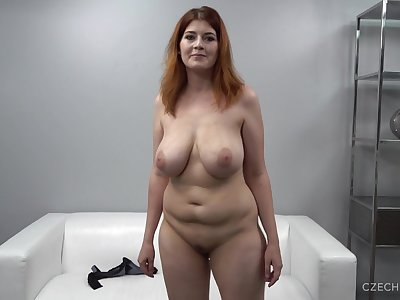 Big-Breasted Redhead Chubby Mommy At Casting