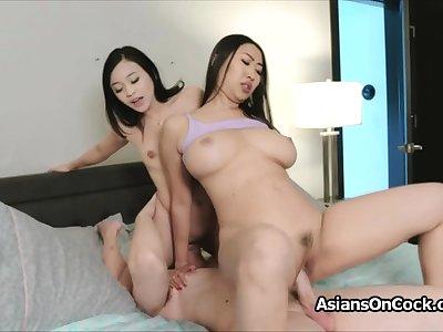 Big cock threesome alongside horny Asian hotties