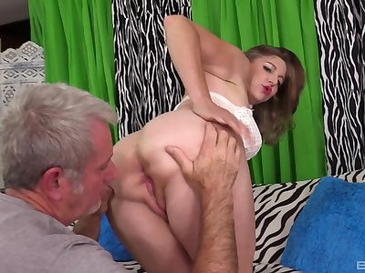 Naked mature fucked on cam by an older man