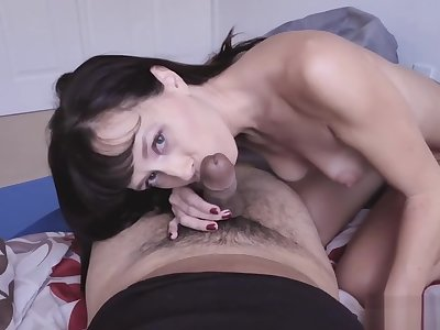 Nasty MILF with small tits jumped on the stepsons thing