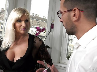 Lord it over old rich woman Anna Valentina gets initiate with young gigolo