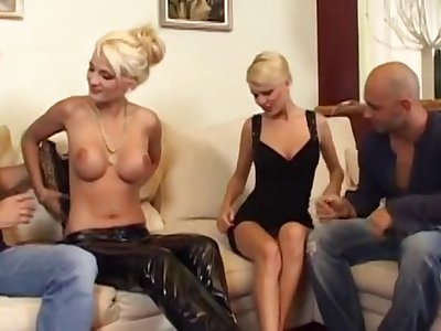 Two Amatory Blonde Europeans Fucked Prevalent Foursome