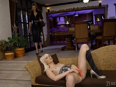 Tall stacked stepmom catches her stepdaughter masturbating instead of studying