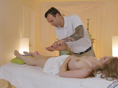 Jaw dropping milf with perfectly shaped boobies Lena Paul gets fucked on the massage table