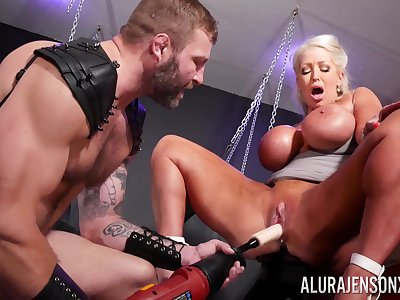 Rough BDSM pussy added to anal for a beamy nuisance cougar on fire