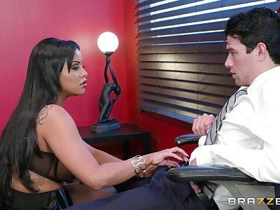 Big ass Latina MILF parks a huge dick in her tiny holes