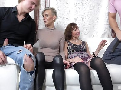 Naughty mature sluts Iveta Stepanova with the addition of Lucy Blond in orgy