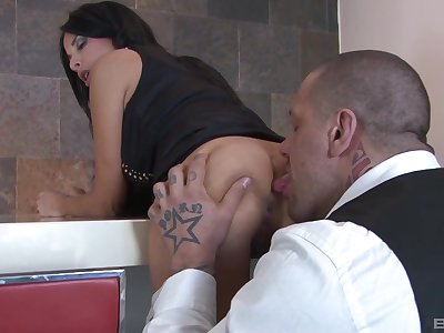 Ill at ease brunette is ready for a dose of nasty anal sex