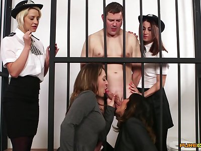 Naked man almost prison gets blowjobs from Madlin Moon increased by 3 more babes