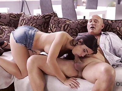 OLD4K. Naughty brunette tempts superannuated man into drilling her butthole