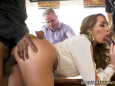 Cuckold watches the way horny MILF with big ass keeps riding cock